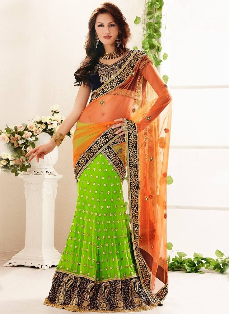 Faux Georgette Embroidered Green and Orange Designer Saree