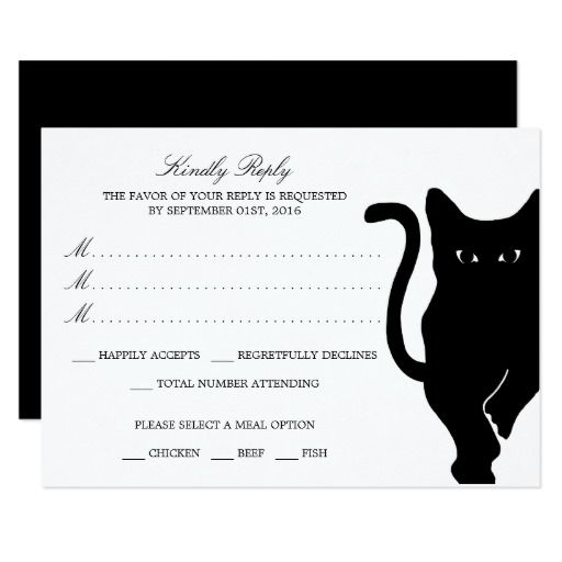 Shop Modern Whimsical Black Cat Wedding RSVP Card Created By WeddingStore