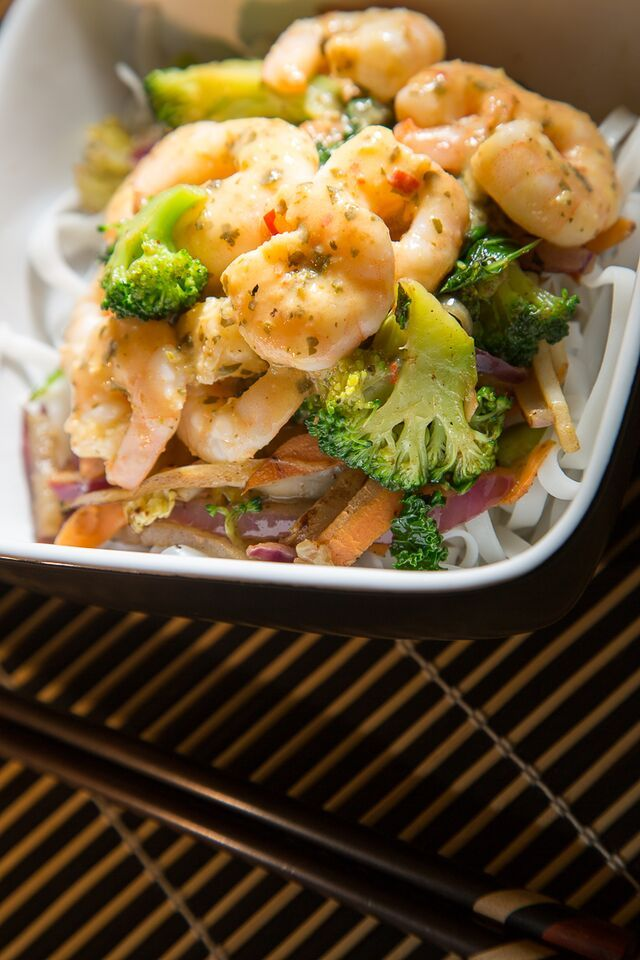 Stir-Fried Thai Green Prawn Curry on Rice Noodles