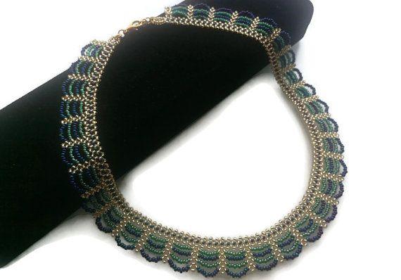 Beadwork Necklace Green Blue Gold Beadwork Necklace  by FIGENTAKI