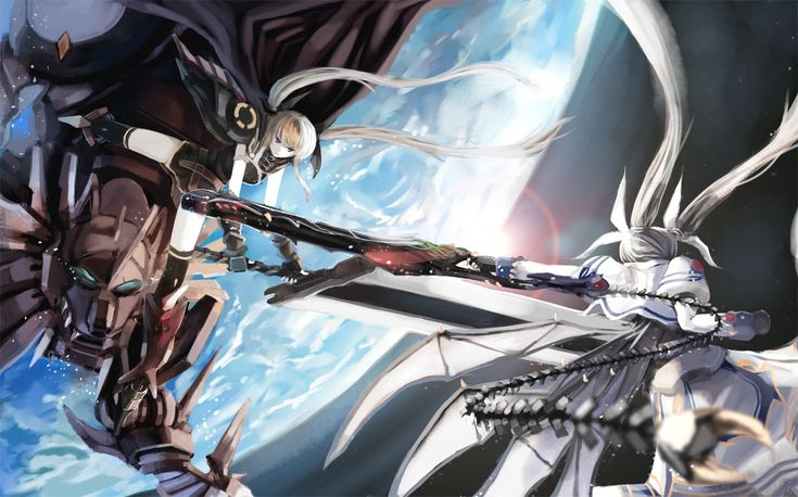 Anime girl with wings and a sword weissritter space - Anime girl with weapon ...