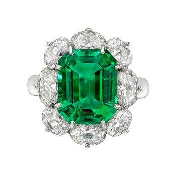 Betteridge Collection 6.10 Carat Emerald & Diamond Cluster Ring | Betteridge