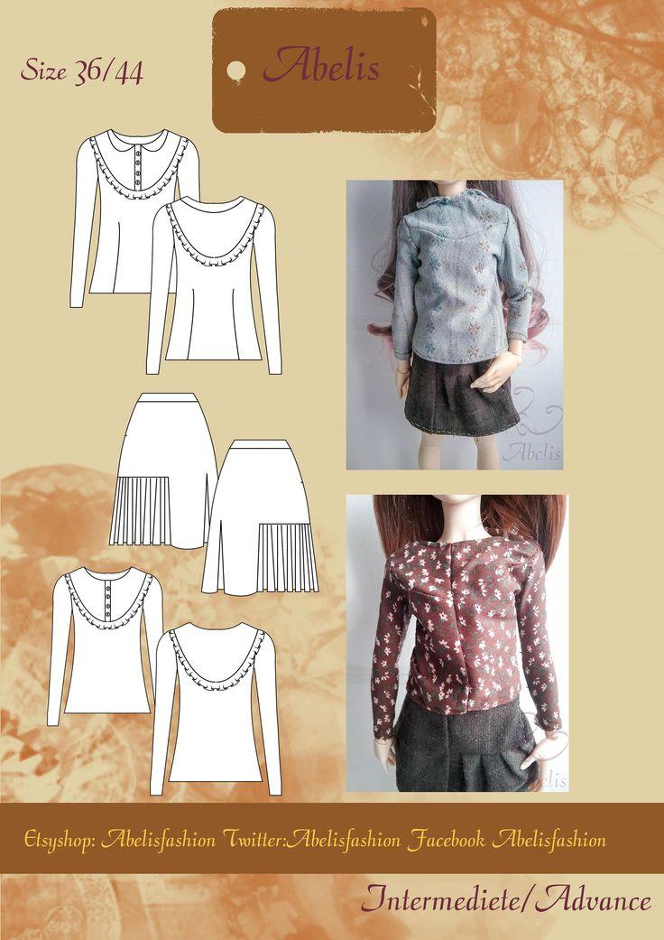 Patron camiseta, patron falda, camiseta vintage, camiseta mujer, camiseta manga larga, falda tablas, falda corta, vintage, talla 36/44 PDF de AbelisFashion en Etsy