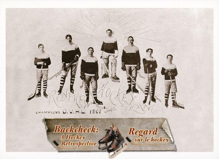 5. Équipe de hockey de Renfrew, qui a remporté le championnat de la Ligue de hockey de la Vallée de l'Outaouais (OVHL) en 1907.  L'équipe de Renfrew a défait Vankleek Hill en 1907 et a remporté le championnat de la Ligue de hockey de la Vallée de l'Outaouais et le Citizen Shield. Le gardien de but Bert Lindsay était le père de la future étoile de Red Wings, Ted Lindsay. #CartesDeHockey
