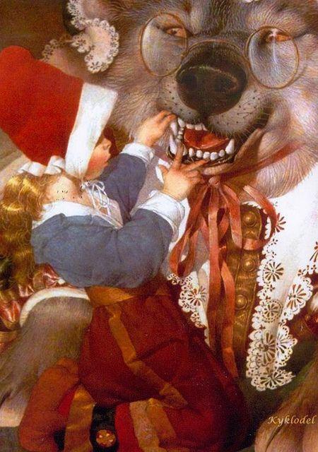 LRRH by Gennady Spirin, Russia Little Red Riding Hood,,, CardWishTree