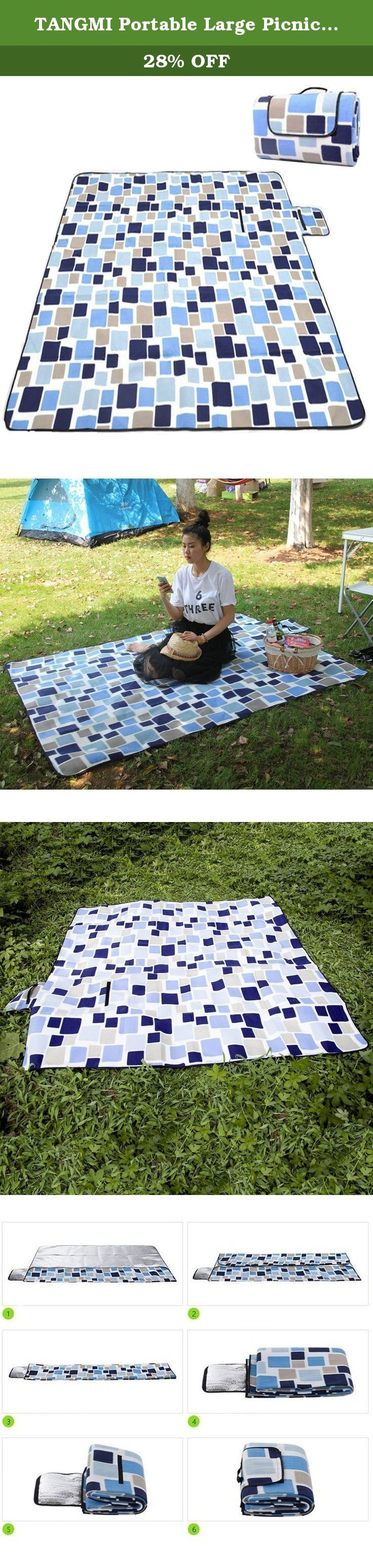 """TANGMI Portable Large Picnic & Outdoor Blanket 79""""x79"""" Water-Resistant Muti-purpose Fleece Aluminum Foil Back Pad with 2MM Sponge Foldable Blanket Pad (Grid). PRODUCT WEITHT-1040G ITEM SIZE- Fold Out: 79"""" x 79"""" (200cm x 200cm), Fold Up: 9"""" x 12"""" (27cm X 40cm) MULTIFUNCTIONAL PICNIC BLANKET-Ideal for all outdoor and indoor activities such as picnics, BBQs, camping, festivals & sporting events, perfect for days out to the beach or park, summer festivals. Also extremely useful as a vehicle..."""
