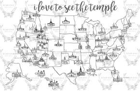 LDS Temple Map by thedearonedesigns on Etsy https://www.etsy.com/listing/294103025/lds-temple-map