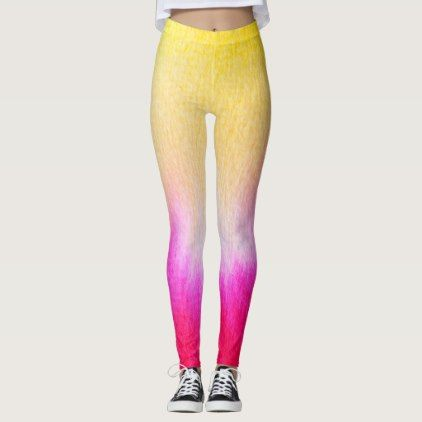Ombre watercolor ikat hipster neon hot pink yellow leggings - pink gifts style ideas cyo unique