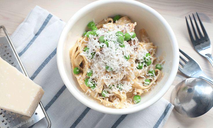 Pasta carbonara er perfekt for travle fedre, sier bloggeren. Foto: Faren til kongen