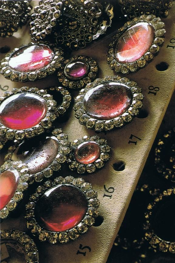 Bejeweled rubescent vintage buttons
