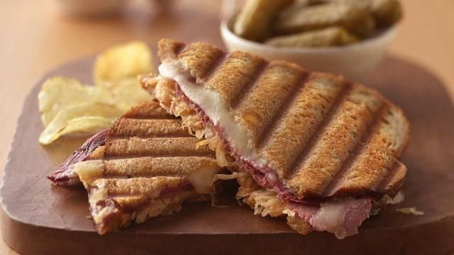 Classic Reuben Panini - butter rye bread (1 side). on unbuttered side ...