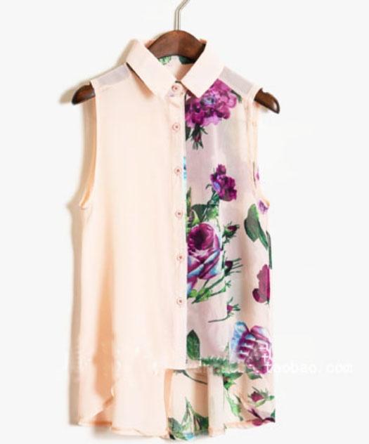 Pink Ink Floral Print Sleevelless Chiffon Sheer Shirt