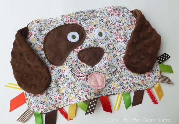 Baby Girl Gift PUPPY DOG Blankie in Calico by LifeInTheSassLane, $24.00