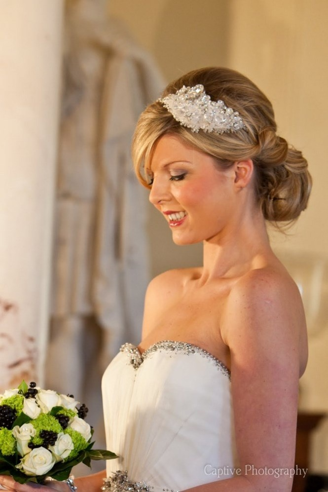Wedding hair, up do, side tiara, sweeping fringe.