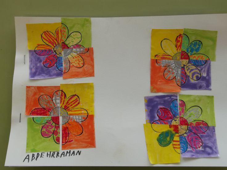 Tapes 2on trimestre de P4  Pintem flors amb ceres,fem una aiguada. Les tallem amb 4  i muntem un puzzle