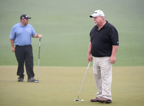 Craig Stadler Photos Photos - Kevin Stadler (L) of the United States watches as his father Craig Stadler of the United States putts during a practice round prior to the start of the 2014 Masters Tournament at Augusta National Golf Club on April 7, 2014 in Augusta, Georgia. - The Masters: Previews