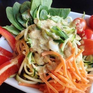 Raw Vegan Zucchini Noodle Salad Buffet - Peaceful Dumpling