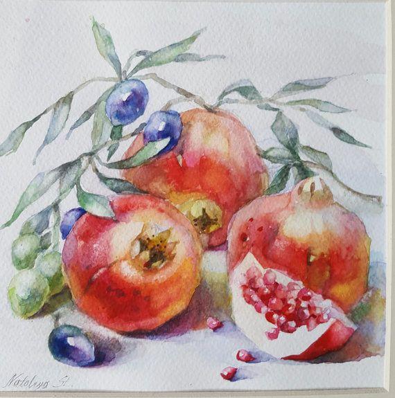 SALE-Pomegranate watercolor art by InterArtShop by InterArtShop
