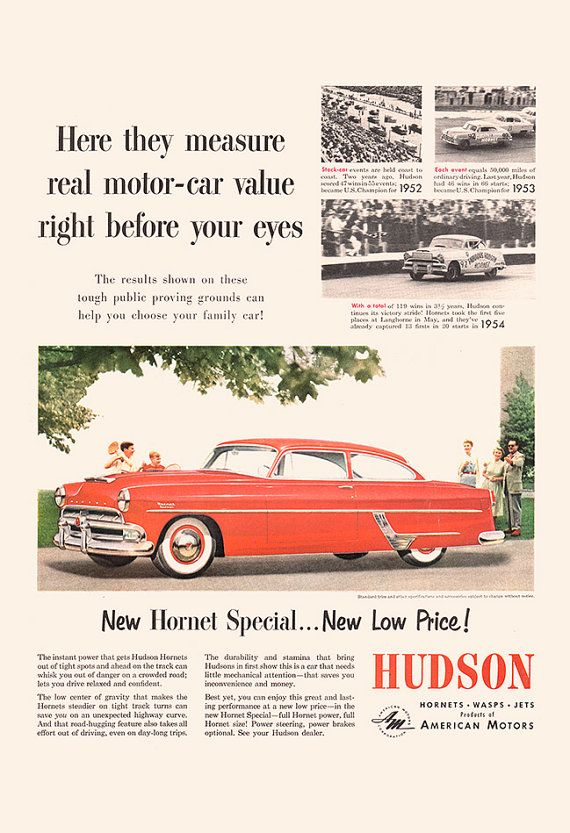VINTAGE HUDSON CAR Ad Retro Car Poster by EncorePrintSociety