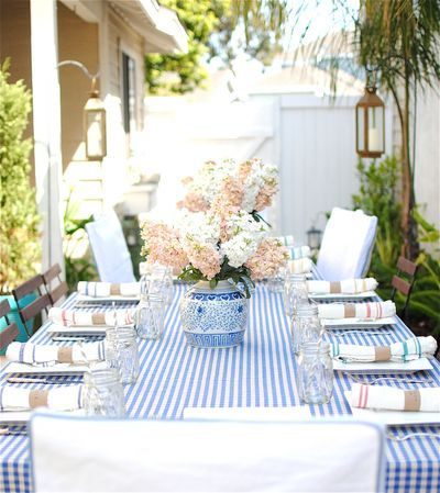 Peach And Blue Outdoor Summer French Baby Shower Table