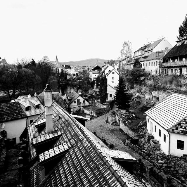 'Cesky Krumlov winter roofs, Black and White' on Picfair.com