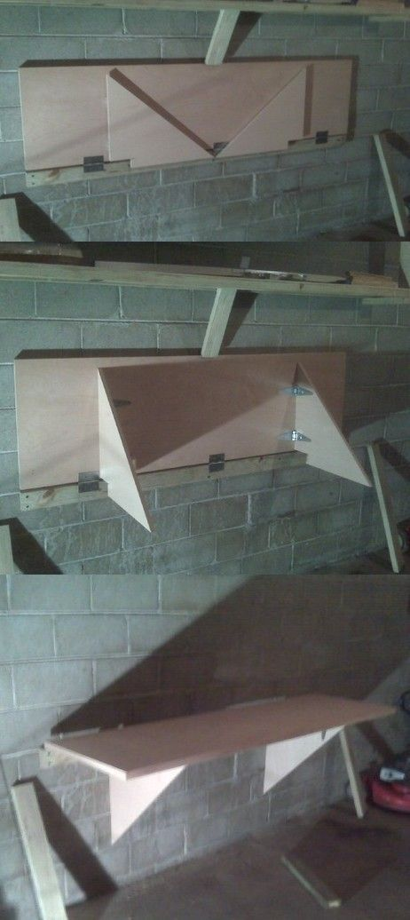Fold down garage workbenches. Space saving. Cheap. Used doors as work top. 2x4 screwed to wall. Door hinges attached to doors and 2x4. Angled pieces swing out on strap hinges to support top. A notch was cut in so they fit around the 2x4. Later I laminated the work surface.