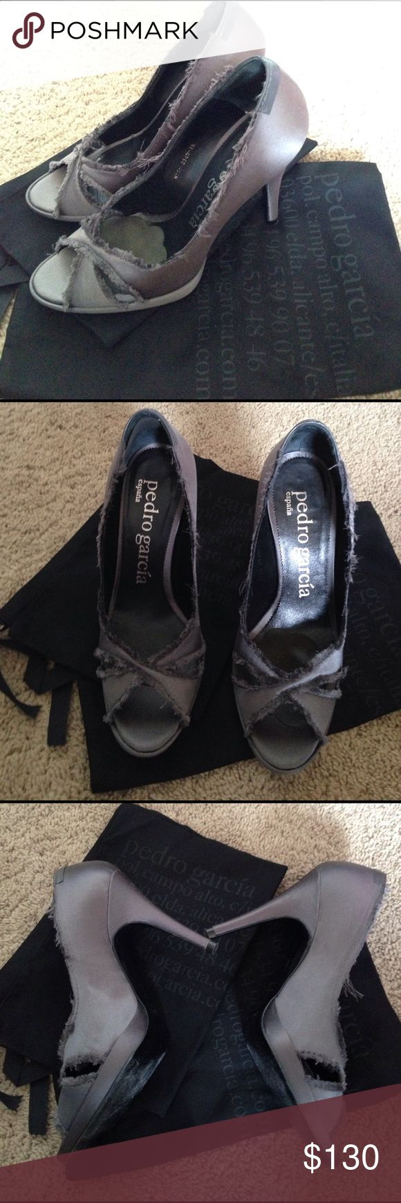 Pedro Garcia heels Pedro Garcia heels in owned perfect condition in size 38 which is a 8. The shoes are grey color. The style is called Dannie. And the shoes are fox satin. pedro garcia  Shoes