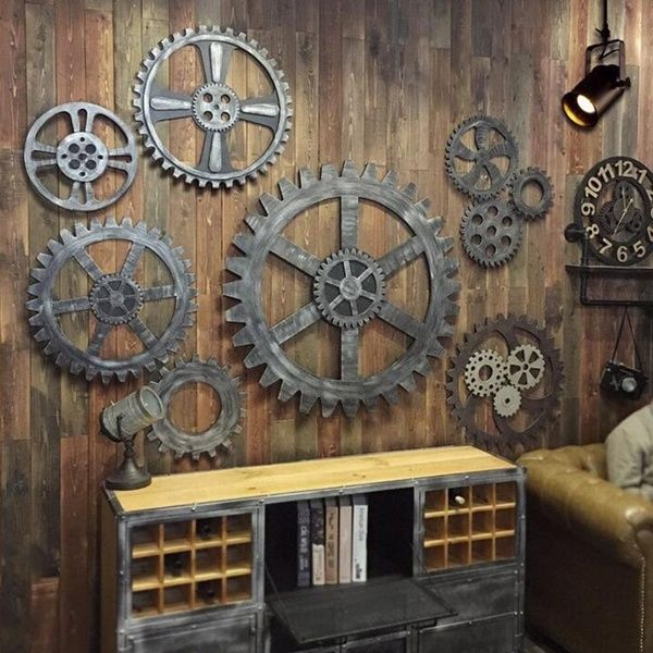 12cm 24cm Vintage Steampunk Gear Wheel Home Bar Decor Art Craft