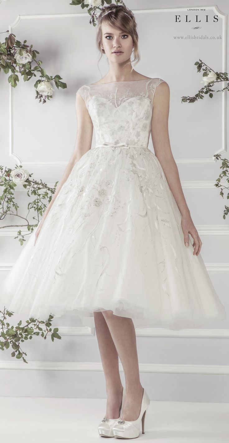 Ellis2015 39 charming knee length soft tulle dress with for Silver satin wedding dress
