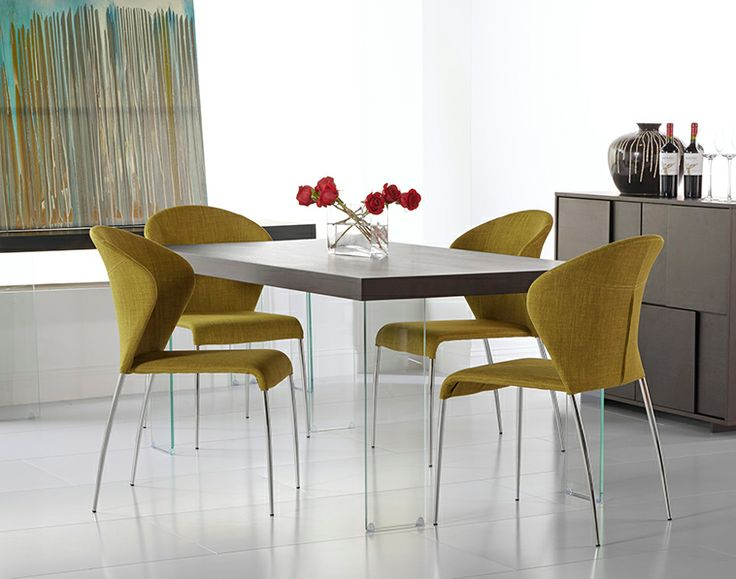 Dark Yellow Cabrio Dining Table + Sy Dining Chairs