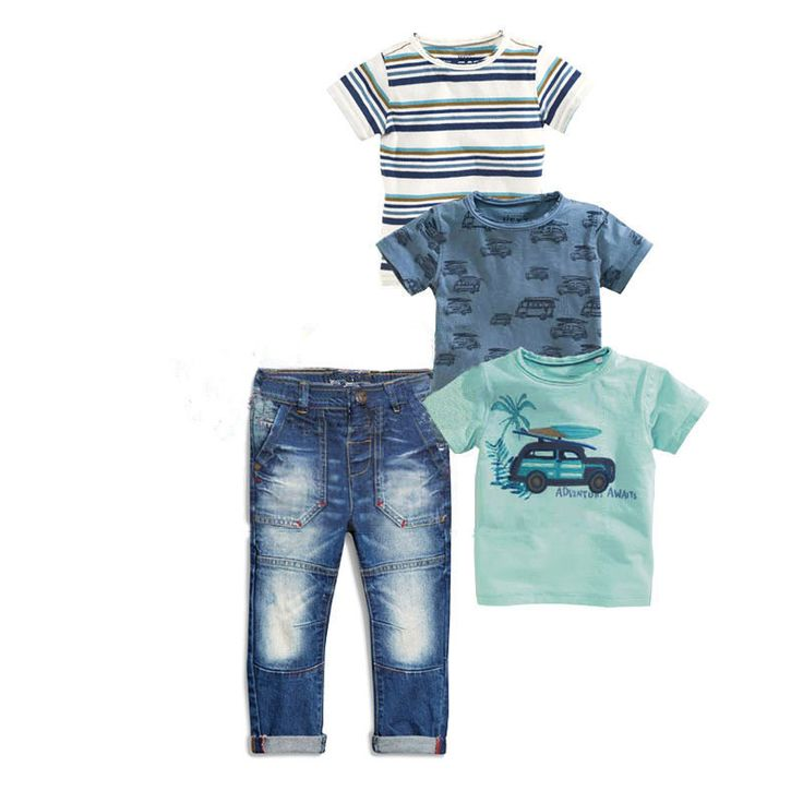 4pcs Boys Set Short Sleeve Cotton T-shirt + Jeans Sets For Boy Children Clothing WY