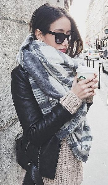 A Cozy Scarf Paired With a Leather Jacket:
