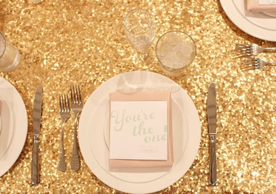 gold sparkle table cloth and pink napkins | Photo by We Call This Love, Design/ Coordination by Beau & Arrow, Paper Elements by Brightly Designed