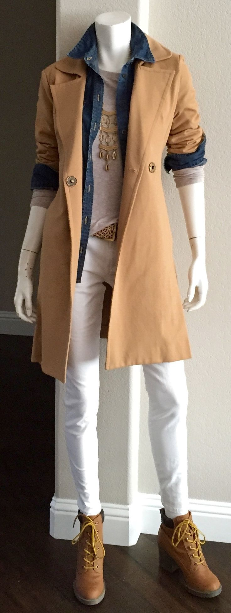 cabi Fall '15 Casablanca Trench, Kipling Belt & Pamper Me Tee with our vintage White Skinny Jean & denim shirt & a cool pair of high heeled construction boots. Not your kind of footwear. That's cool. Do a great riding boot, a bootie, or even a flat. #camelcoat #cabiclothing