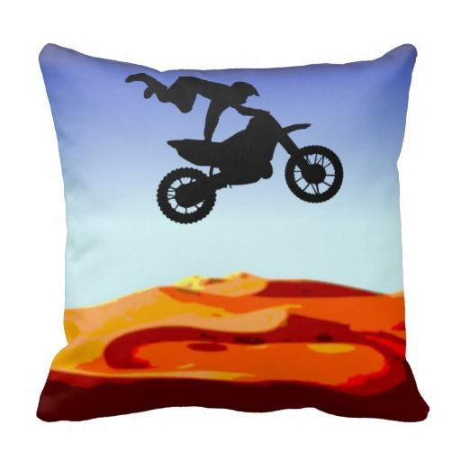 http://www.zazzle.com.au/dirt_bike_stunt_rider-189431803917068988?view=113986468537702901&rf=238523064604734277 Dirt Bike Stunt Rider - This throw pillow cushion features a silhouette of a man in the sky on his dirt bike doing a stunt in the desert.