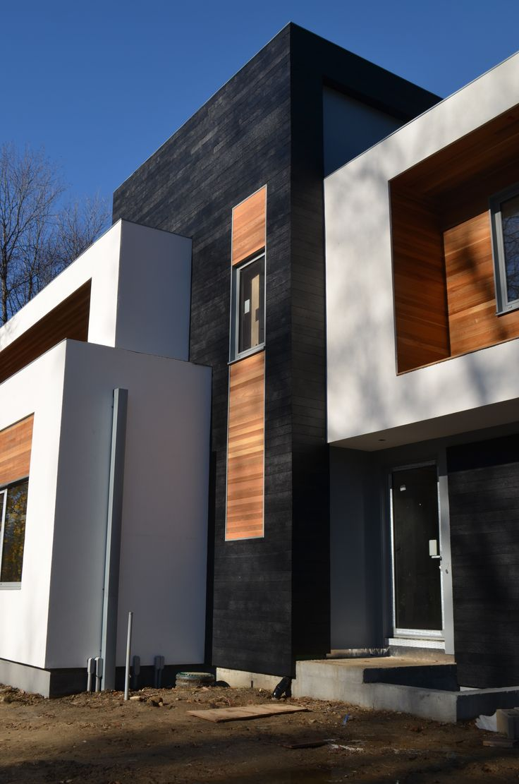 Work in progress - reSAWN's CHARRED wood black exterior siding - burnt in style of shou-sugi-ban - 100% Made in the USA