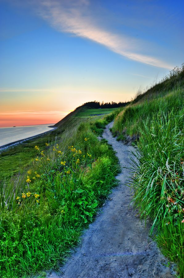 Beautiful sunset from the hiking trail at Ebey's Landing on Whidbey Island.