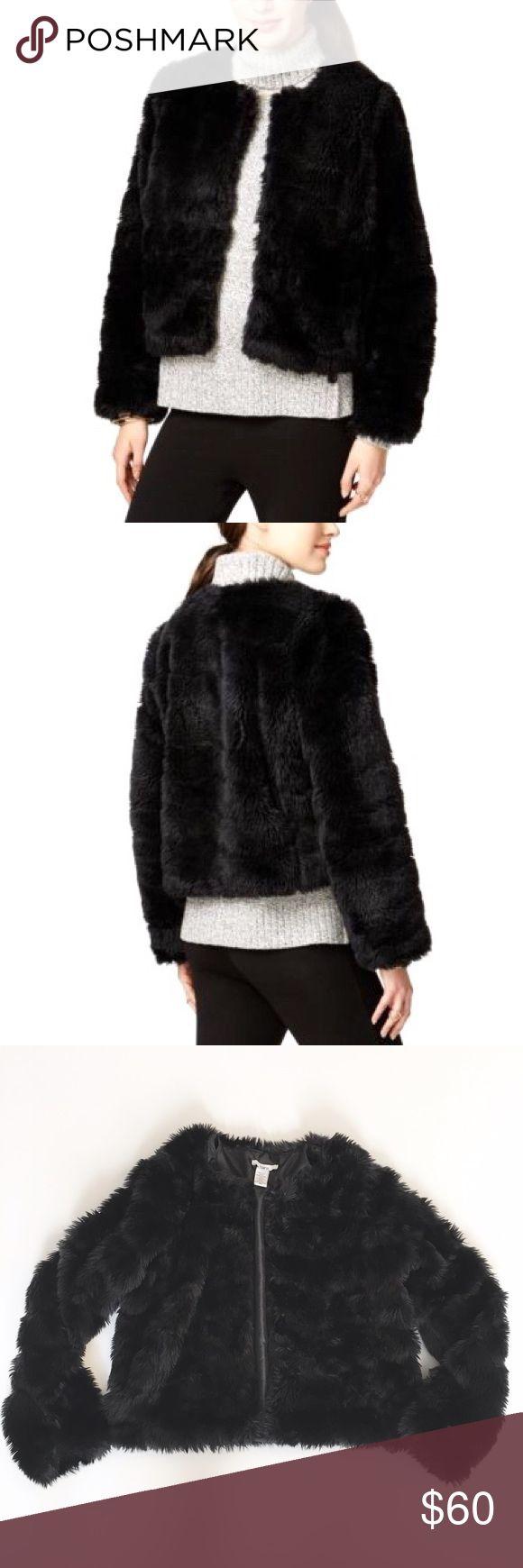 "Bar III black faux fur jacket- size xs Bar III black faux fur jacket. Lined. Approx measurements laying flat: chest - 17.5"", length - 20"". Excellent condition Bar III Jackets & Coats"