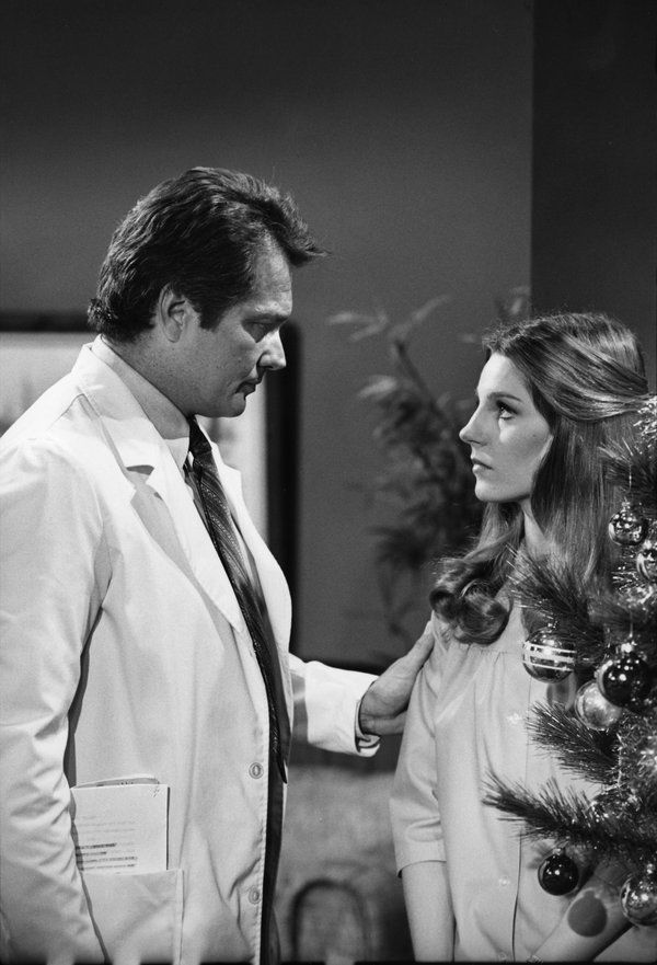 GENERAL HOSPITAL - Shoot Date: January 6, 1977  (Photo by: ABC Photo Archives) BRETT HALSEY (Dr. Adam Streeter); and GEORGANNE LAPIERE (Heather Webber)