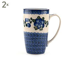 Set di 2 mug in ceramica Anemone, blu/bianco - 400 ml