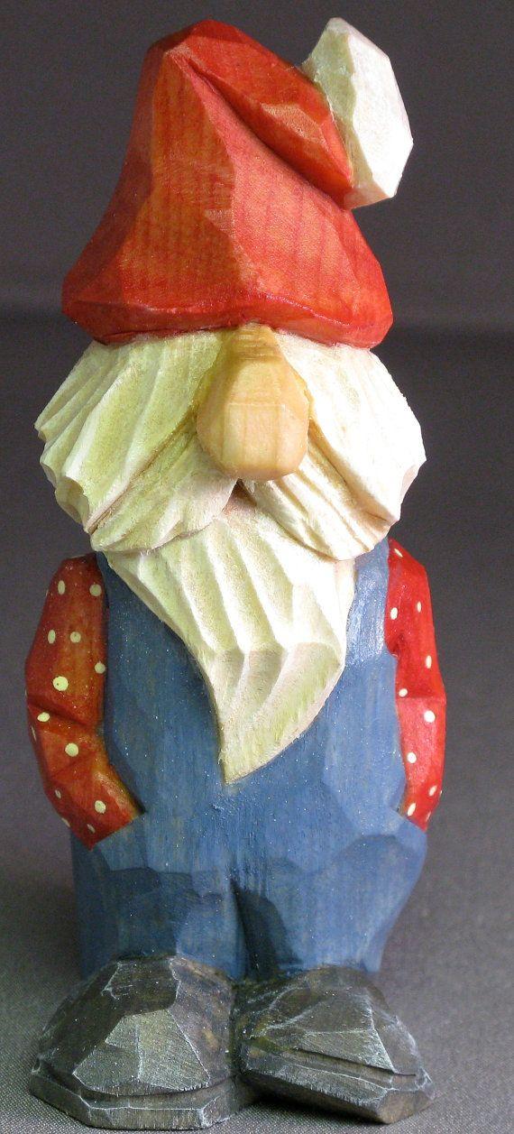 Talla caricatura de madera del gnomo Santa Navidad por cjsolberg