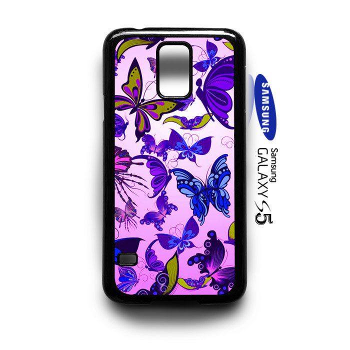 Butterflies Vector Pattern purple Samsung Galaxy S5 Case Cover - PDA Accessories