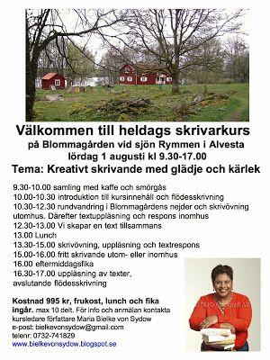 Välkommen till heldagskurs i kreativt skrivande, i lantlig småländsk miljö precis vid sjön Rymmen. 1 aug kl 9.30-17 Arrangör BIMA-förlag