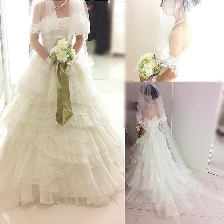 「ローズバレッタ」 私の選んだプラン(新郎1着、新婦2着)では、追加料金なしで着れるそうです。後ろのトレーンが短かったので、ロングベールをつけてもらいました。  #2016春婚  #フォーシス #フォーシスアンドカンパニー #プレ花嫁