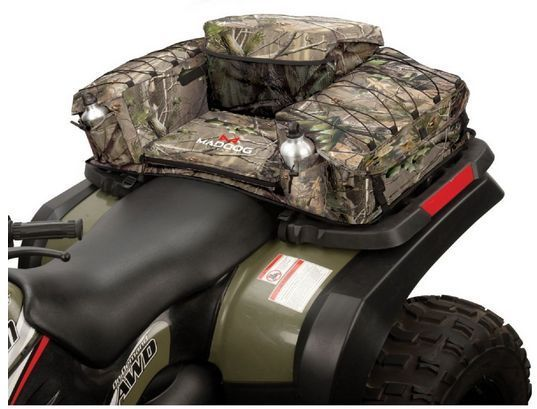 ATV Seat Bag  Add seating and storage to your ATV with the rear seat bag. The bag creates a comfortably padded, extra-large seat, surrounded by three large zippered compartments for all your accessories. The storage areas feature padded inside walls, to keep everything safe. There are even two built-in water-bottle holders for convenience on your adventure. #ATV #Seat #Bag #Side #Hunting #4 #Wheeler #Camping #Seat #Storage #Pack #Luggage #Cushion #OffRoad