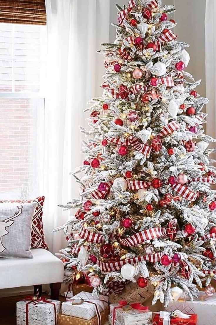 25 Free Christmas Tree Decorations To Bring Holiday Cheer To Your Home New 2020 Page 2 Of 28 My Blog White Flocked Christmas Tree Christmas Tree Inspiration Christmas Tree Decorations Diy