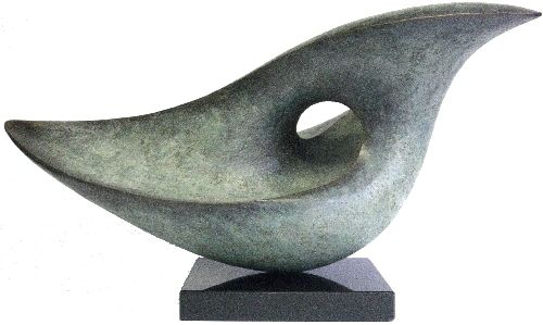 "Lynn Warren, UK sculptor. ""Thought wave"". Bronze/copper resin on granite. H 34cm x W 59cm."