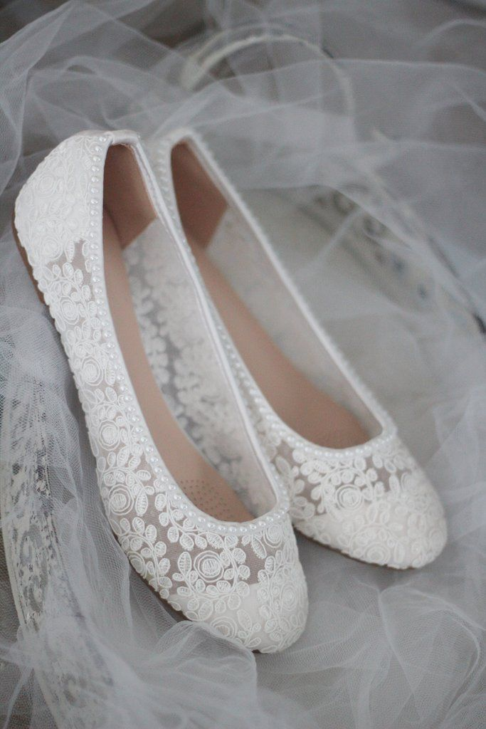 White Crochet Lace Round Toe Flats With Mini Pearls In 2021 Wedding Ballet Flats Wedding Shoes Flats Ballet Flats Wedding Shoes