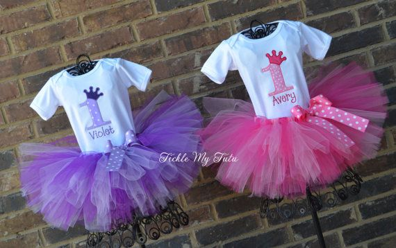 Pink and Purple Passion Twin Girls Birthday Crown by TickleMyTutu, $109.95