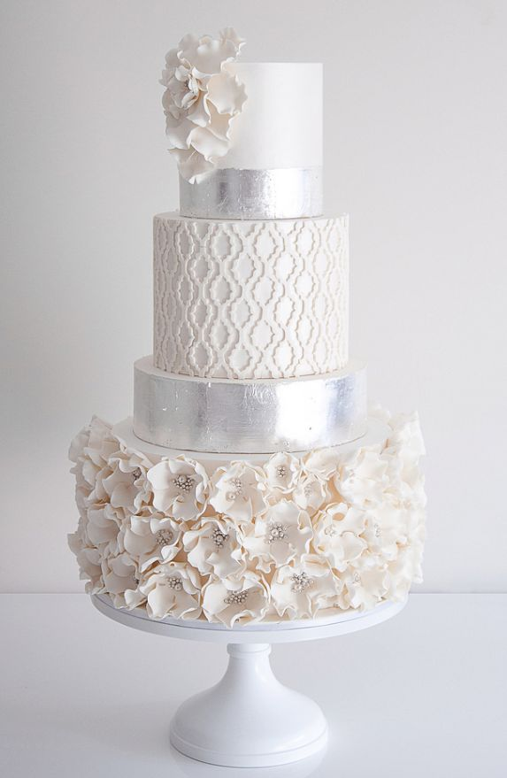 white and silver wedding cake: Cakes Ideas, Weddings, Silver Cakes, Eating Cakes, Cakes Design, White Cakes, Flowers, Beautiful Cakes, Silver Wedding Cakes